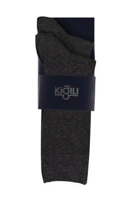Erkek Giyim - AÇIK ANTRASİT 42-45 Beden 2'li Desenli Çorap
