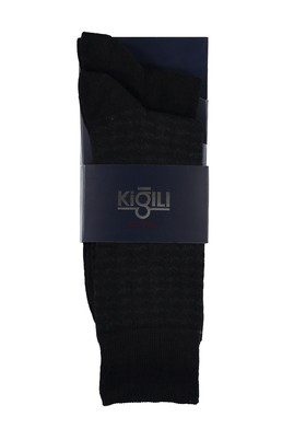 Erkek Giyim - SİYAH 42-45 Beden 2'li Desenli Çorap