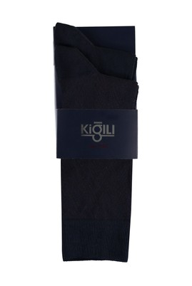 Erkek Giyim - ORTA LACİVERT 39-41 Beden 2'li Desenli Çorap