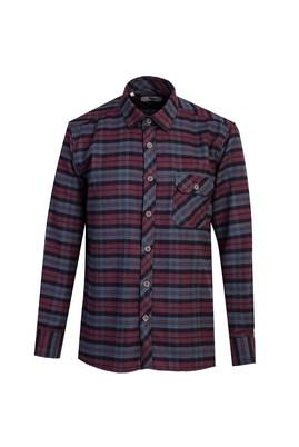Erkek Giyim - ORTA GRİ L Beden Uzun Kol Regular Fit Ekose Gömlek