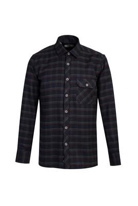 Erkek Giyim - KOYU ANTRASİT 3X Beden Uzun Kol Regular Fit Ekose Gömlek
