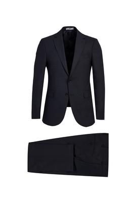 Erkek Giyim - KOYU LACİVERT 54 Beden Yünlü Slim Fit Takım Elbise