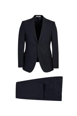 Erkek Giyim - SİYAH LACİVERT 48 Beden Yünlü Slim Fit Takım Elbise