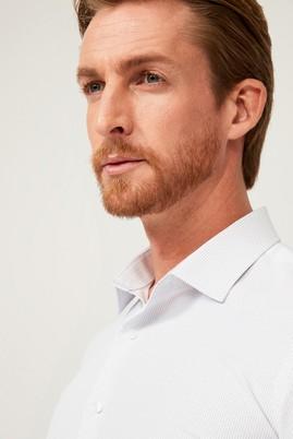Erkek Giyim - AÇIK GRİ L Beden Uzun Kol Çizgili Slim Fit Gömlek
