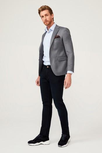 Erkek Giyim - Slim Fit Balık Sırtı Ceket
