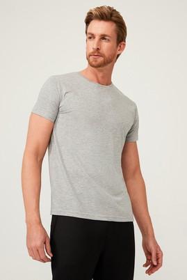 Erkek Giyim - AÇIK GRİ MELANJ M Beden Bisiklet Yaka Slim Fit Tişört