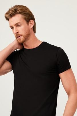 Erkek Giyim - SİYAH M Beden Bisiklet Yaka Slim Fit Tişört