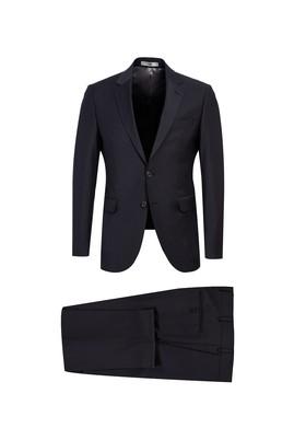 Erkek Giyim - SİYAH LACİVERT 58 Beden Yünlü Slim Fit Takım Elbise