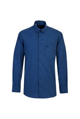 Erkek Giyim - ORTA LACİVERT L Beden Uzun Kol Desenli Klasik Gömlek