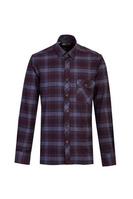 Erkek Giyim - AÇIK BORDO L Beden Uzun Kol Ekose Oduncu Gömlek