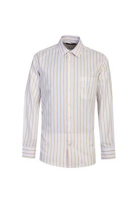 Erkek Giyim - HARDAL 4X Beden Uzun Kol Regular Fit Çizgili Gömlek