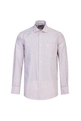 Erkek Giyim - KOYU KIRMIZI XL Beden Uzun Kol Regular Fit Kareli Gömlek