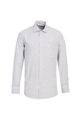 Erkek Giyim - ORTA BEJ M Beden Uzun Kol Regular Fit Kareli Gömlek