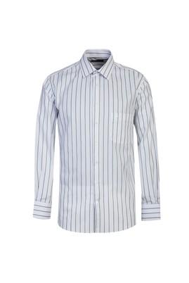 Erkek Giyim - PETROL YEŞİLİ L Beden Uzun Kol Regular Fit Çizgili Gömlek