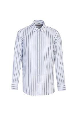 Erkek Giyim - AÇIK LACİVERT M Beden Uzun Kol Çizgili Klasik Gömlek