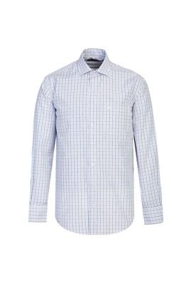 Erkek Giyim - MAVİ XL Beden Uzun Kol Regular Fit Kareli Gömlek