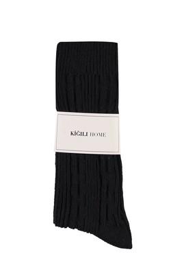 Erkek Giyim - SİYAH 40-44 Beden Desenli Triko Çorap