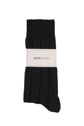 Erkek Giyim - SİYAH 40-44 Beden Yünlü Desenli Çorap