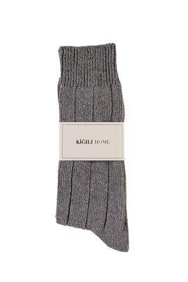 Erkek Giyim - ORTA GRİ 40-44 Beden Yünlü Desenli Çorap