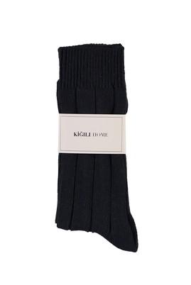 Erkek Giyim - ORTA LACİVERT 40-44 Beden Yünlü Desenli Çorap