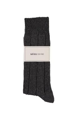Erkek Giyim - ORTA ANTRASİT 40-44 Beden Yünlü Desenli Çorap