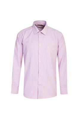 Erkek Giyim - LİLA L Beden Uzun Kol Regular Fit Çizgili Gömlek