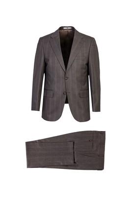 Erkek Giyim - Açık Kahve - Camel 48 Beden Regular Fit Ekose Takım Elbise