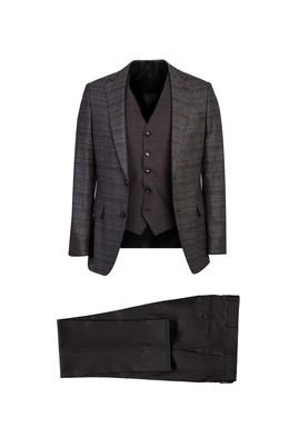 Erkek Giyim - ORTA FÜME 54 Beden Yelekli Ekose Klasik Takım Elbise