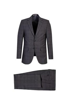 Erkek Giyim - ORTA FÜME 62 Beden Regular Fit Ekose Takım Elbise