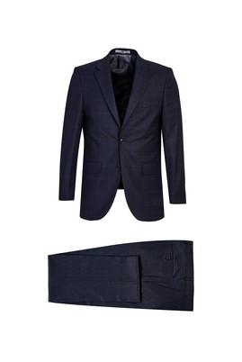 Erkek Giyim - KOYU LACİVERT 64 Beden Ekose Klasik Takım Elbise