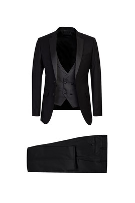 Erkek Giyim - Siyah 48 Beden Mono Yaka Yelekli Slim Fit Smokin / Damatlık