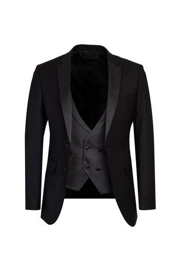 Erkek Giyim - Mono Yaka Yelekli Slim Fit Smokin / Damatlık