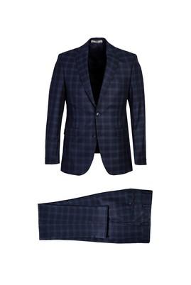 Erkek Giyim - ORTA LACİVERT 54 Beden Regular Fit Ekose Takım Elbise