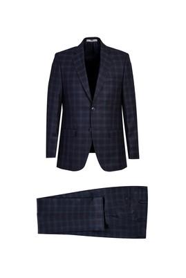 Erkek Giyim - KOYU LACİVERT 54 Beden Regular Fit Ekose Takım Elbise