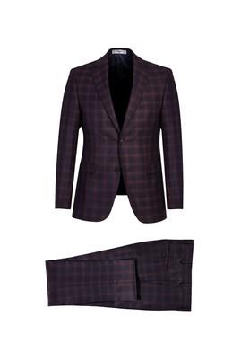 Erkek Giyim - KOYU BORDO 48 Beden Ekose Klasik Takım Elbise