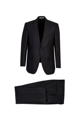 Erkek Giyim - Siyah 52 Beden Kuşgözü Klasik Takım Elbise
