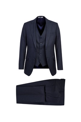 Erkek Giyim - KOYU LACİVERT 62 Beden Yelekli Kombinli Klasik Takım Elbise
