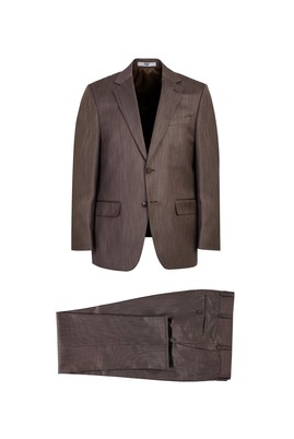 Erkek Giyim - Kahve 52 Beden Kuşgözü Klasik Takım Elbise