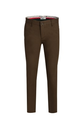 Erkek Giyim - ORTA HAKİ 46 Beden Slim Fit Kuşgözü Spor Pantolon