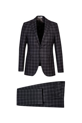 Erkek Giyim - KOYU ANTRASİT 44 Beden Slim Fit Ekose Takım Elbise