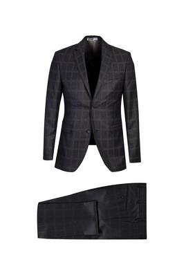 Erkek Giyim - ORTA GRİ 46 Beden Slim Fit Ekose Takım Elbise