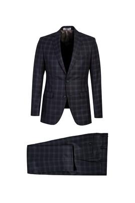 Erkek Giyim - ORTA ANTRASİT 56 Beden Ekose Klasik Takım Elbise