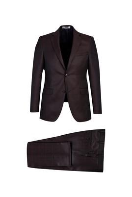 Erkek Giyim - KOYU BORDO 54 Beden Slim Fit Ekose Takım Elbise