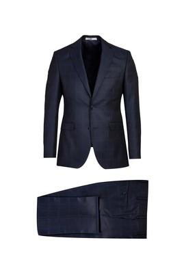 Erkek Giyim - KOYU LACİVERT 62 Beden Regular Fit Ekose Takım Elbise