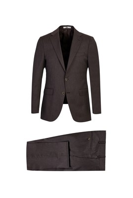 Erkek Giyim - KOYU KAHVE 50 Beden Yünlü Klasik Takım Elbise