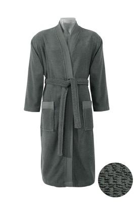 Erkek Giyim - Antrasit LX Beden Kimono Yaka Lacivert Jakarlı Bornoz