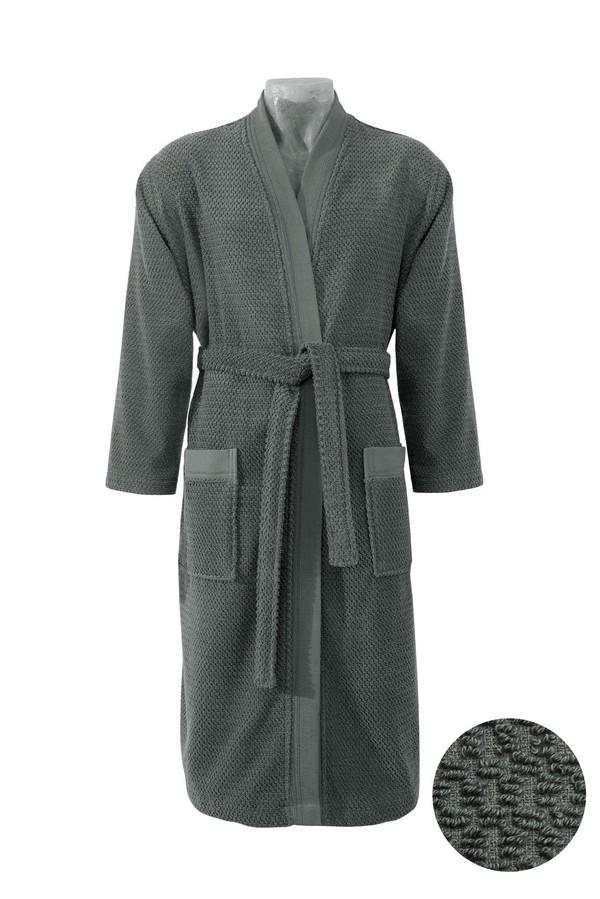 Kimono Yaka Lacivert Jakarlı Bornoz