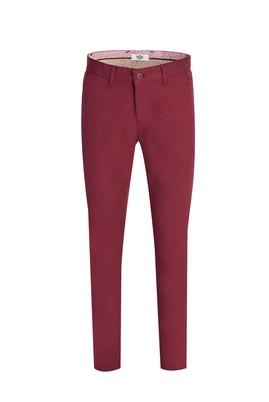 Erkek Giyim - ŞARAP BORDO 46 Beden Slim Fit Kuşgözü Spor Pantolon