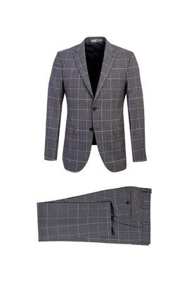 Erkek Giyim - ORTA GRİ 44 Beden Slim Fit Kareli Takım Elbise