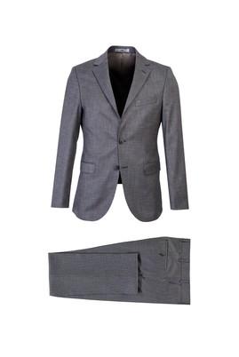 Erkek Giyim - ORTA GRİ 44 Beden Kuşgözü Slim Fit Takım Elbise